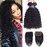 Amella Hair 8A Brazilian Kinky Curly Weave Human Hair Bundles with Closure Good Quality Brazilian curly Hair 3 Bundles with Closure 12' 14' 16'+12inch Closure
