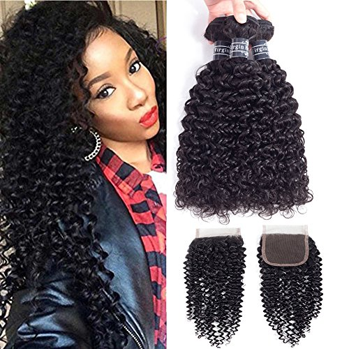 Amella Hair -Brazilian Curly Hair With Lace Closure