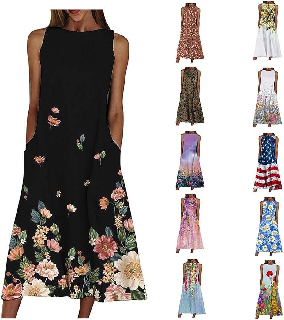 Summer Casual Pocket Tank Dress for Women, Fankle Women Vintage Floral Ethnic Sunflowers Tie Dye Sleeveless Beach Swing Dress