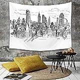 Tapestry,Hippie Tapiz,Tapiz de Pared con decoración para el hogar,Nueva York, Hand Drawn Ciudad de Nueva York Turismo Turismo Centro indus,para Picnic Mantel o Toalla de Playa Redonda 130 x 150 cm
