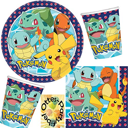 HHO Pokémon Pokemon-Party-Set 48tlg. für 16 Gäste Teller Becher Servietten