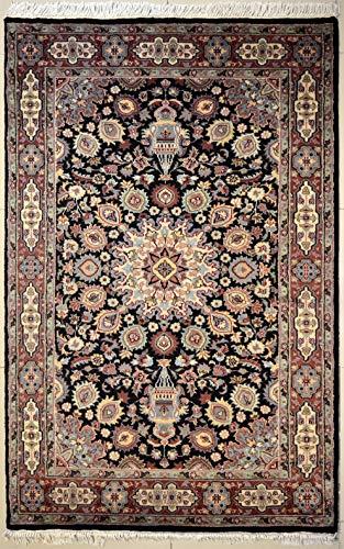 Schwarzer Orientalischer Teppich Ardabil Bokhara Original Handarbeit aus Wolle Elegantes Design Authentisches Tribal Muster Symmetrischer Teppich für Lounge Schlafzimmer Eingang 124 cm x 195 cm