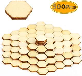 BcPowr 500 PCS 10mm Honeycomb Wood Chips Unfinished Wood Cutout Natural Honeycomb Wood Hexagon Cutout Shapes Unfinished Wood