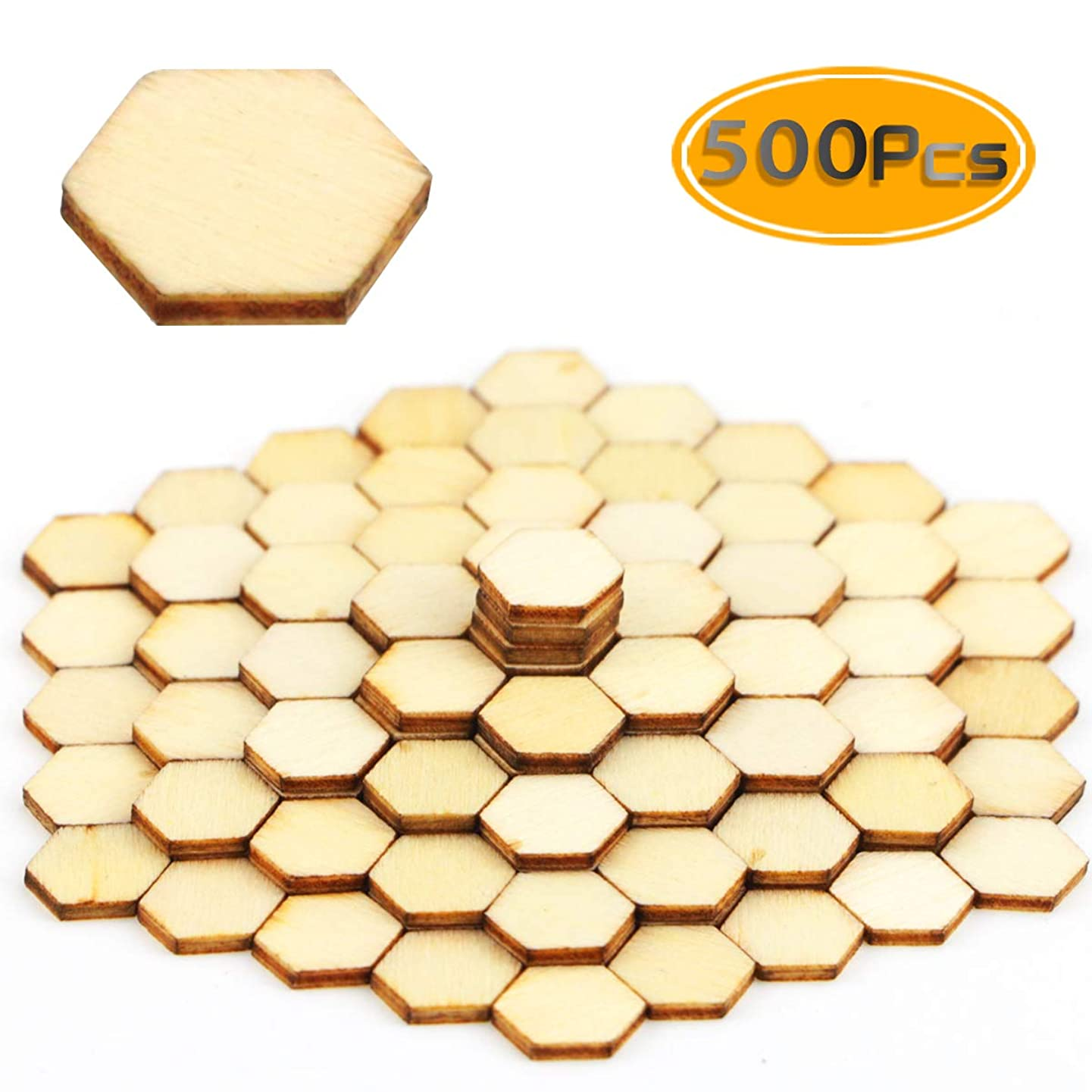 BcPowr 500 PCS 10mm Honeycomb Wood Chips Unfinished Wood Cutout Natural Honeycomb Wood Hexagon Cutout Shapes Unfinished Wood