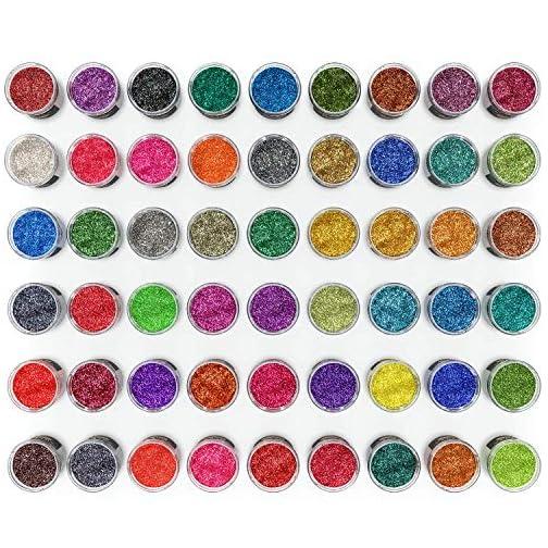 Arteza Fine Glitter, Set of 54 Colors, Shaker Jars (0.34oz/9.6 g) Glow Under UV Black Light, Extra Fine, Art Supplies…  