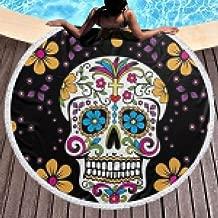 Dlskjda Black Dead Sugar Skull Pattern Round Beach Towel Blanket with Tassels,Beach Microfiber Round Beach Towel Picnic Carpet Yoga Mat