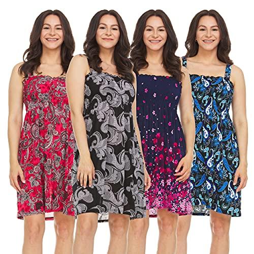 Unique Styles Women's Summer Ultra Soft Flowy Floral Print Sundresses - Medium- 4Pack - Assorted colors