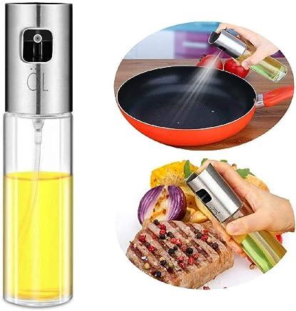 Olive Oil Sprayer Dispenser for Cooking, Food-Grade Glass Oil Spray Transparent Vinegar Bottle Oil Dispenser 100ml for BBQ/Making Salad/Baking/Roasting/Grilling/Frying Kitchen.