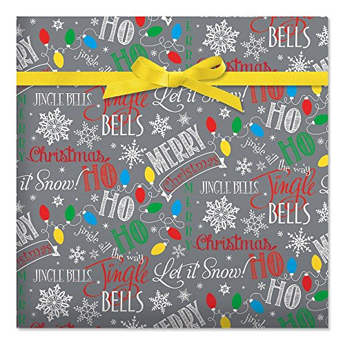 Let It Snow Christmas Jumbo Rolled Gift Wrap - 1 Giant Roll, 23 Inches Wide by 32 feet Long, Heavyweight, Tear-Resistant, Holiday Wrapping Paper