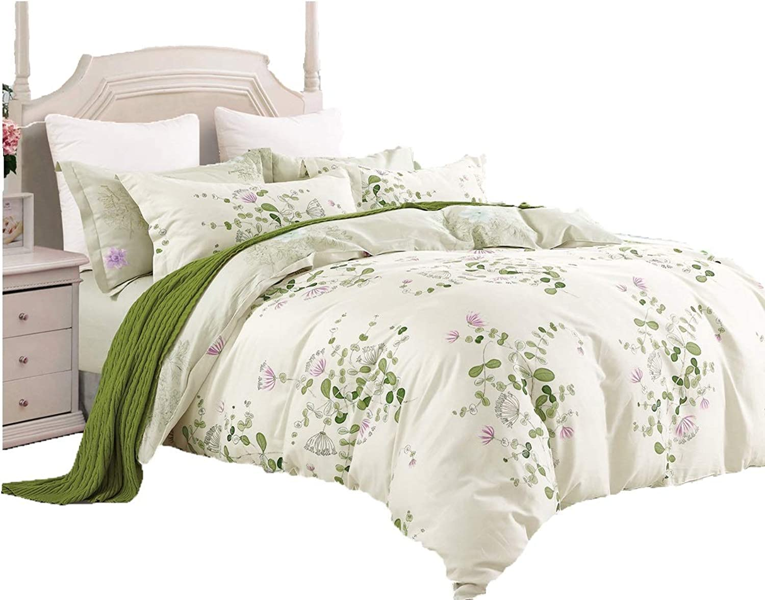 Swanson Beddings Graceful and Reversible Floral Print 3-Piece 100% Cotton Bedding Set  Duvet Cover and Two Pillow Shams (Queen)