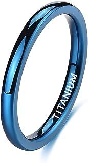 TIGRADE 2 مم 4 مم خاتم تيتانيوم أزرق عادي قبة عالية مصقول خاتم زفاف مريح مقاس 4-12