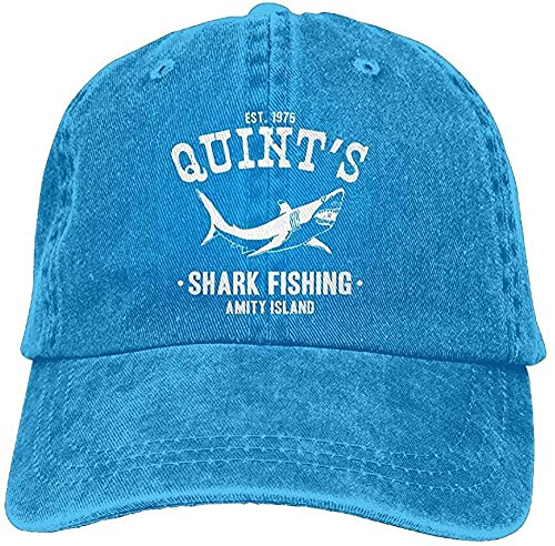 Adult Unisex Cotton Jeans Cap Old-Fashion Adjustable Hat Quints Shark Fishing Jaws 7 Colors Available