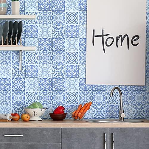 ENCOFT 25 Piezas 20x20cm Plaza de Vinilo Azulejos, autoadhesiva pared de la etiqueta engomada del azulejo para la decoración casera (20x20 cm, azul)