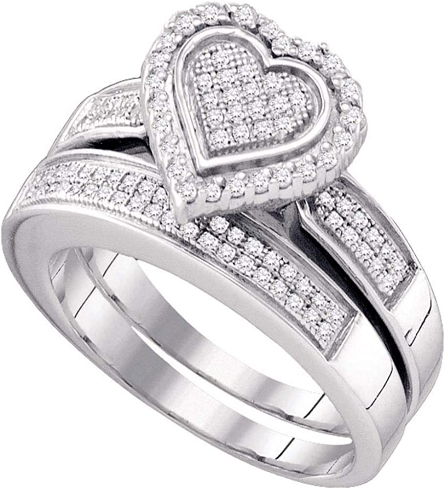 Sterling Silver Round Popular overseas Year-end gift Diamond Heart Bridal Wedding Ring Set Band