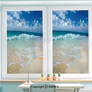 RWNFA Non-Adhesive Privacy Window Film Door Sticker Beach with Foamy Waves on Empty Sea Shore Holiday Theme Serene Coastal Decorative Glass Film 22.8 in by 35.4in(58cm by 90cm),Blue White Sand Brown
