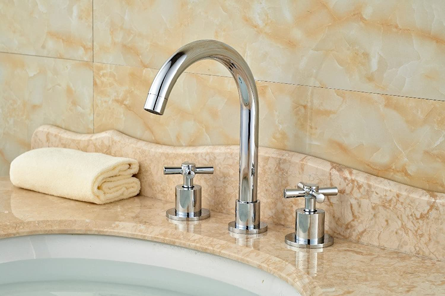 Electroplating Retro Faucet Luxury Deck Mounted Chrome Brass Bathroom Basin Sink Faucet Mixer tap 3PCS 2 Handles,Multi