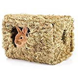 MEWTOGO Rabbit Grass House- 12.5  8 inch Natural Woven Bunny Grass Bed Folding Woven Bunny Hut for Rabbits Guinea Pigs Chinchilla Hideaway Sleeping