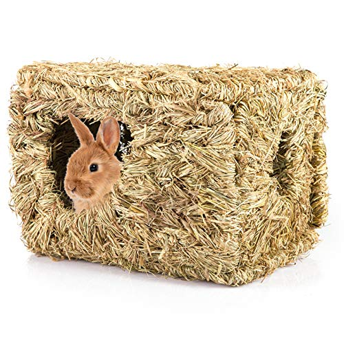 MEWTOGO Rabbit Grass House- 12.5 × 8 inch Natural Woven Bunny Grass Bed Folding Woven Bunny Hut for Rabbits Guinea Pigs Chinchilla Hideaway Sleeping