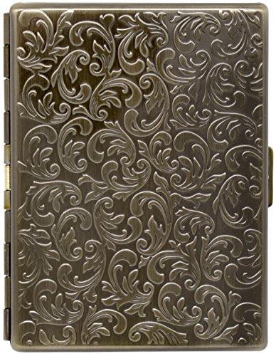 Antique Gold Victorian Print Compact (9 100s) Metal-Plated Cigarette Case & Stash Box