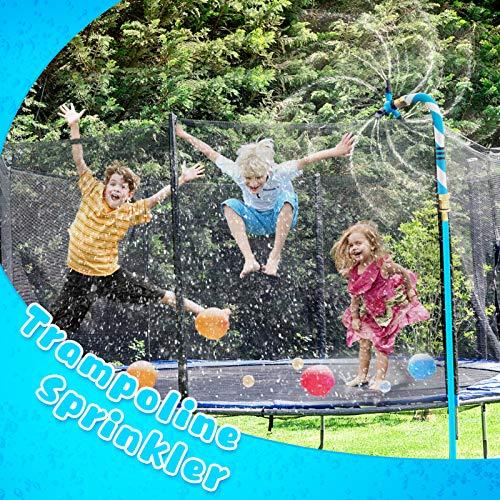 Petrichor Irrigatore a Trampolino per Bambini, Irrigatore da Giardino Esterno,Rotazione a 3 Bracci a 360 Gradi,for Fun Summer Water Game Toys Accessori per trampolini