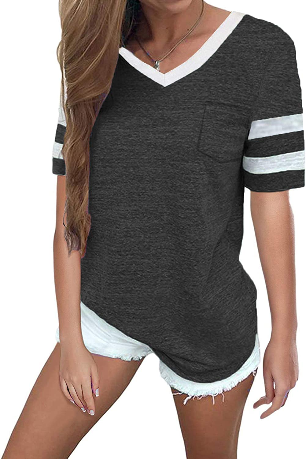 Sweetnight Womens Summer Short Sleeve Baseball Tee color Block Loose Sport T Shirt Casual Tunic Tops with Pockets