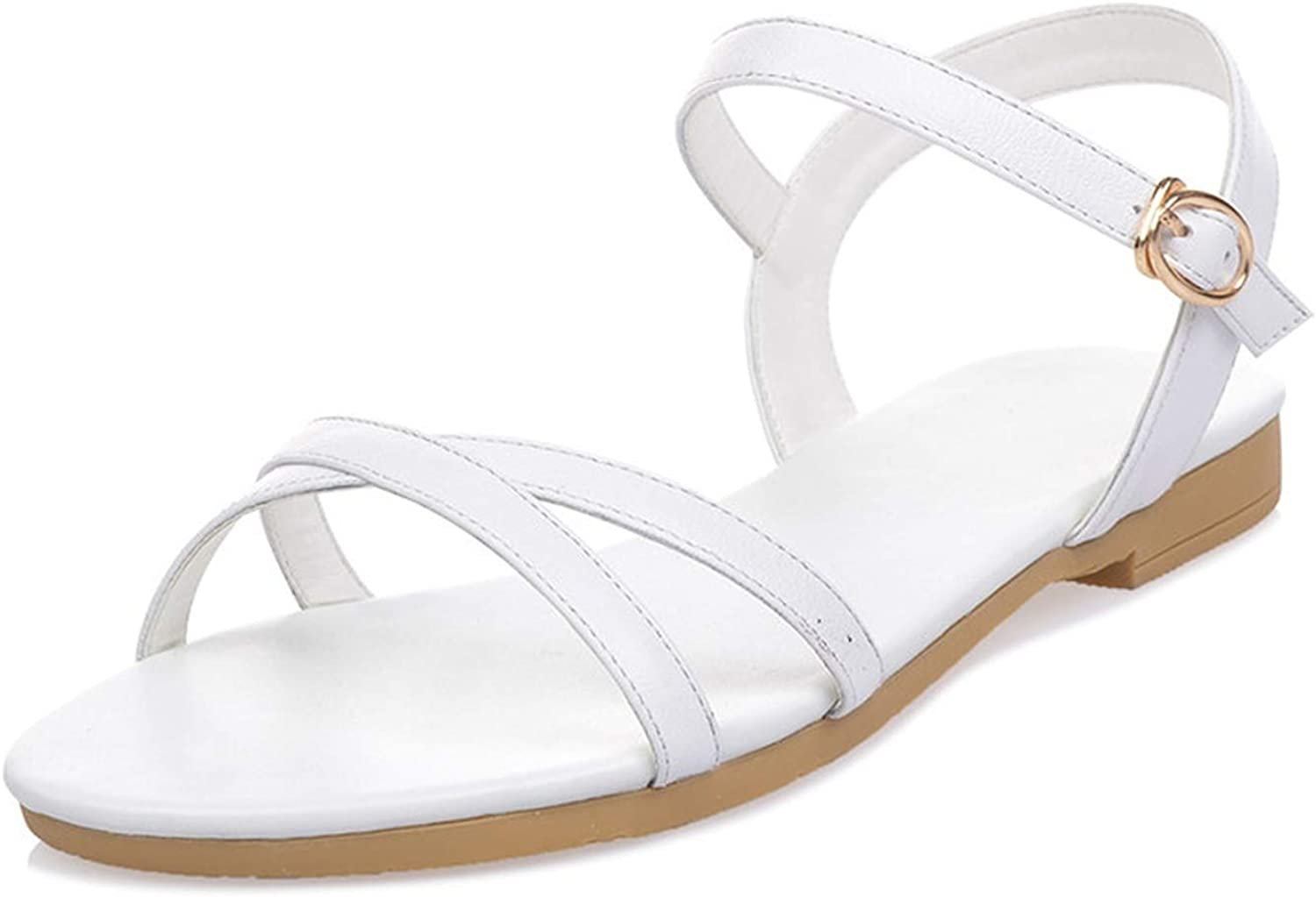 Genuine Leather Women Sandals Solid colors Buckle Flat Summer Sandals Simple Lady shoes
