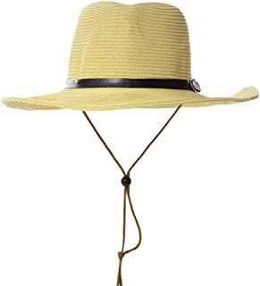 Vadeytfl Straw Collapsible Sunhat Outdoor Riding Climbing Sunscreen Sun Hat with Chin Band (Color : Yellow)