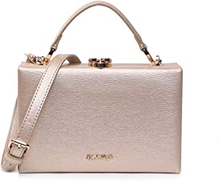 EVERMORE Clutch Gold Abendtasche Damen Crossbody Bag Damen Klein Handtasche Handgelenktasche Frauen mit Metallkurzkette Ve...