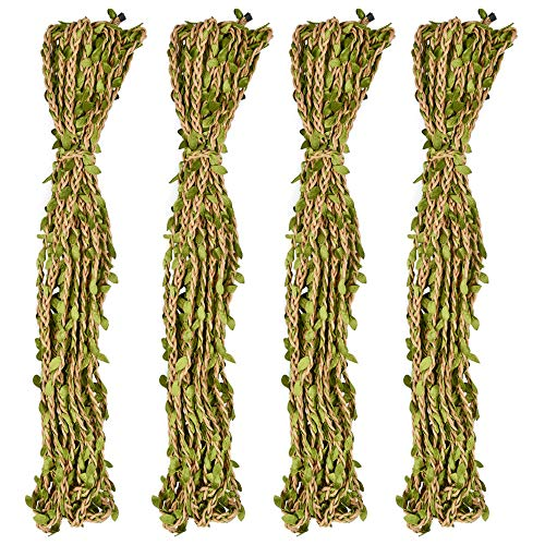 ATPWONZ 131 Ft Natural Jute Burlap Vine Twine with Artificial Leaves Garland Burlap Leaf Ribbon for Rustic Wedding Party Decor, Art & Crafting Home Packing Decor, Jungle Party Decorations