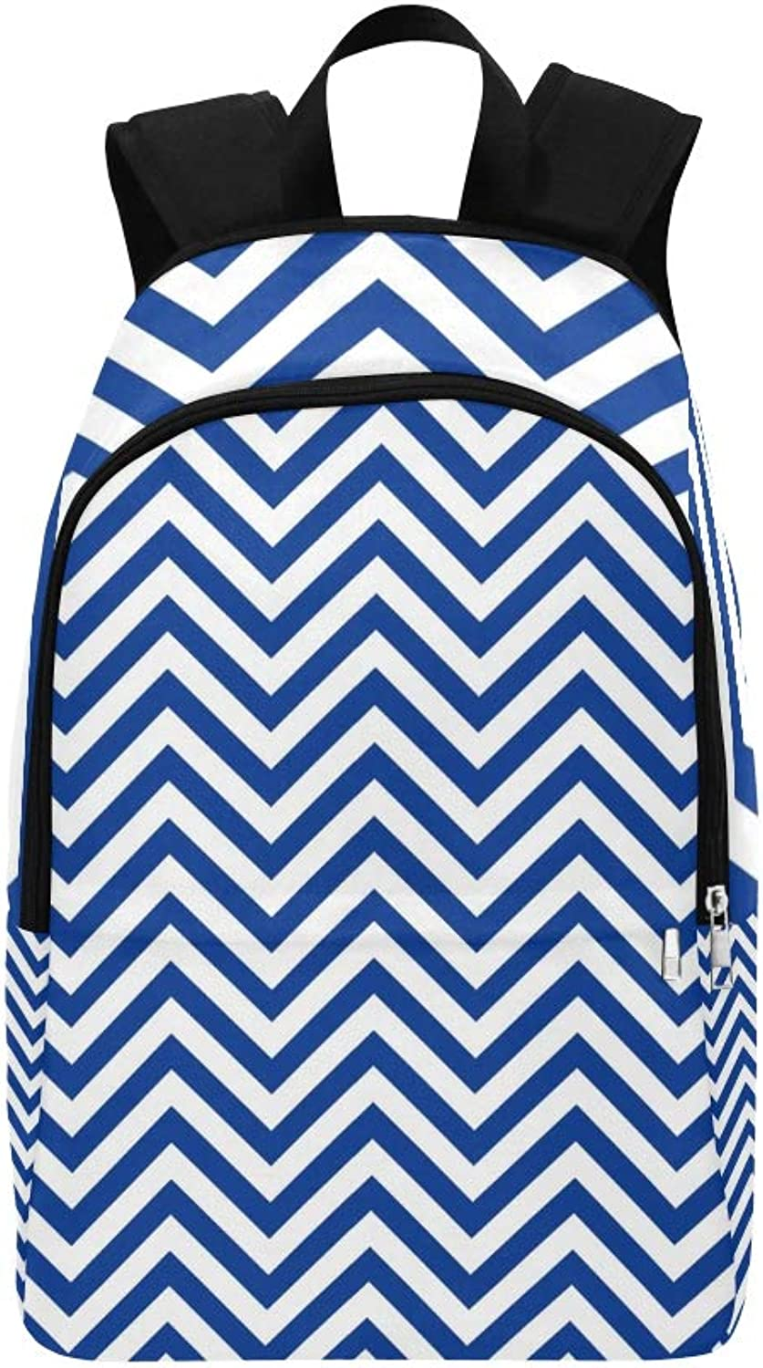 blueee White Chevron Casual Daypack Travel Bag College School Backpack for Mens and Women