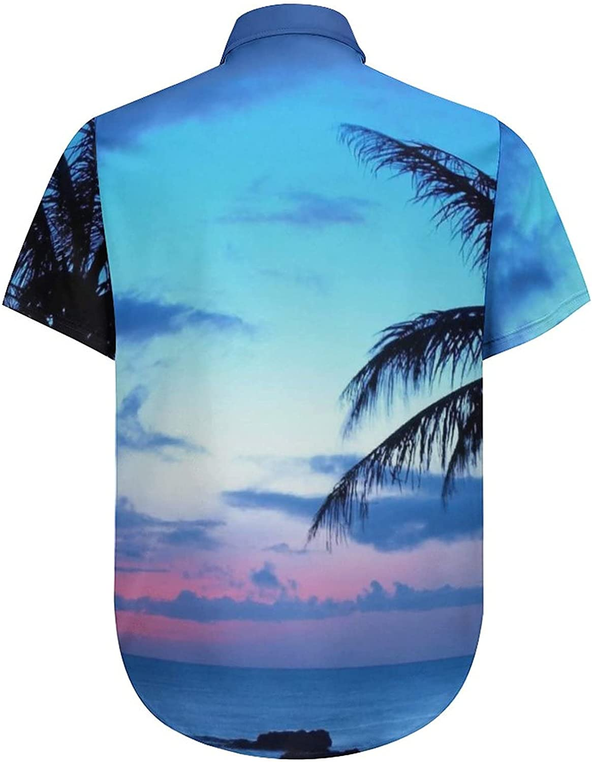 Men's Regular-Fit Short-Sleeve Printed Party Holiday Shirt Palm Tree Blue Sky Sunset