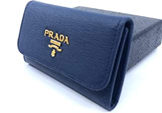 Prada Portachiavi Ganci Bluette Blue Vitello Move 6 Hook Key Holder Wallet 1PG222