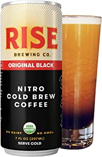 RISE Brewing Co. | Original Black Nitro Cold Brew Coffee (12 7 fl. oz. Cans) - Sugar, Gluten & Dairy Free | USDA Organic & Non-GMO | Draft Nitrogen Pour, Clean Energy, Low Acidity, & Naturally Sweet
