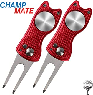 CHAMPMATE Golf Divot Tool, Pop-up Button Stainless Steel Switchblade and Foldable Magnetic with Golf Ball Marker