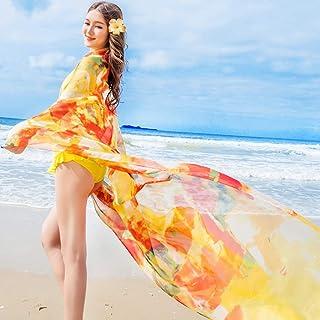 女性サロンビーチカバーアップ、 パレオビーチラップ、 レディースセクシーボヘミアンフローラルビーチカバーアップサロンラップ水着ビーチウェア シルクショール (Color : E)