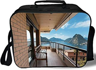 Insulated Lunch Bag,Modern Decor,Lugano Lake Panoramic View From Terrace of Apartment Mountains and Sea,Light Brown Blue,for Work/School/Picnic, Grey