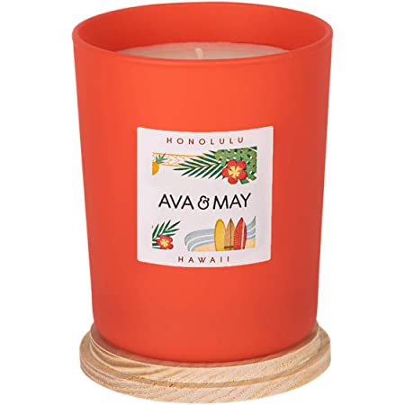 AVA & MAY Hawaii Candela profumata (180g) – Candela vegana in vasetto di Vetro al bergamotto, Ibisco e Arancia Dolce – Candele Fatte a Mano paradisiache
