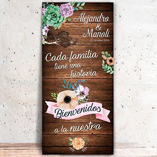 Decoración Boda | Cartel Boda Bienvenida Familia (Cartón) | 70cm x 150cm
