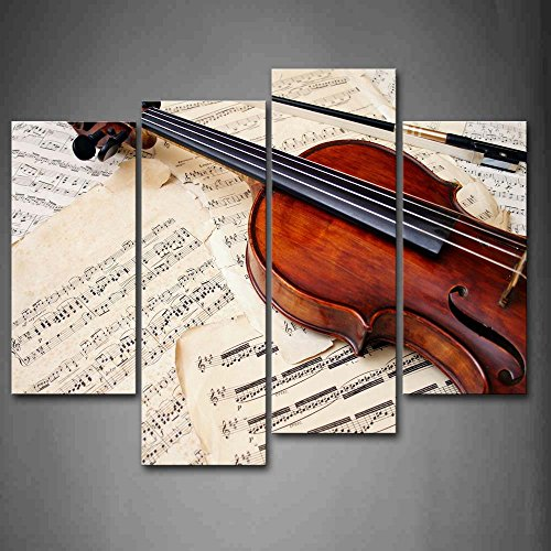 Piece of Musics and Violin in Brown Wall Art Painting Pictures Print On Canvas Music The Picture for Home Modern Decoration