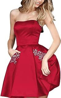 Best red strapless full length satin dress Reviews