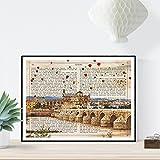 Nacnic Lámina Ciudad de Cordoba. Estilo Vintage. Ilustración, fotografía y Collage con la...