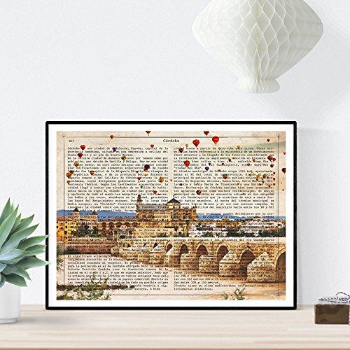 Nacnic Lámina Ciudad de Cordoba. Estilo Vintage. Ilustración, fotografía y Collage con la Historia DE Cordoba. Poster tamaño A4 Impreso en Papel