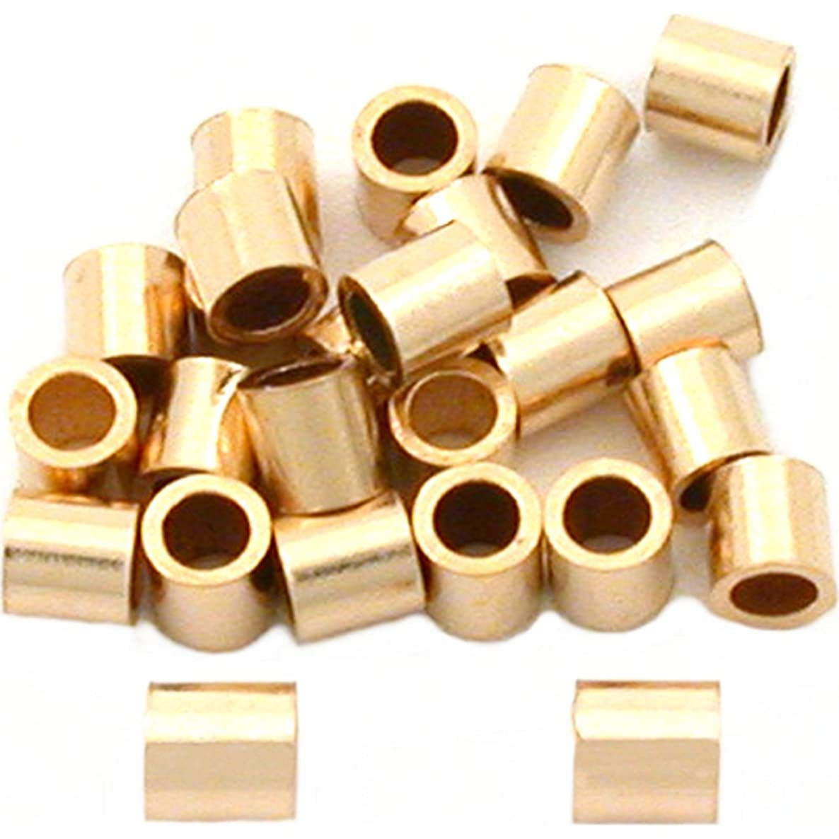 25 Gold Filled Tube Crimp Beads Jewelry Beading 2mm