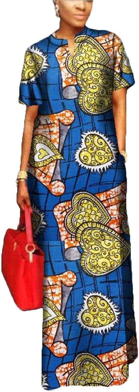 SELX Women Loose Fit Short Sleeve Plus Size Cotton African Tribal Print Long Dress
