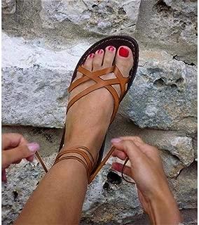 SKYROPNG Sandalias/De/Las/Mujeres/Bohemias,Naranja Verano Retro Se/ñoras Playa/Moda/Romana/Mujeres GladiadorMujer Sandalias Planas