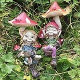 Pixie Couple assis sous champignons; Magical Mystery de haute qualité Jardin Décor Lot de 2figurines enfants, fée et Elfe.