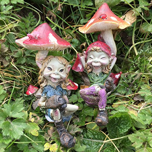 Pixie Paar SAT unter Pilze; Magical Mystery Hohe Qualität Garten Decor Figuren Elf & Fairy Kinder, Set 2Stück.