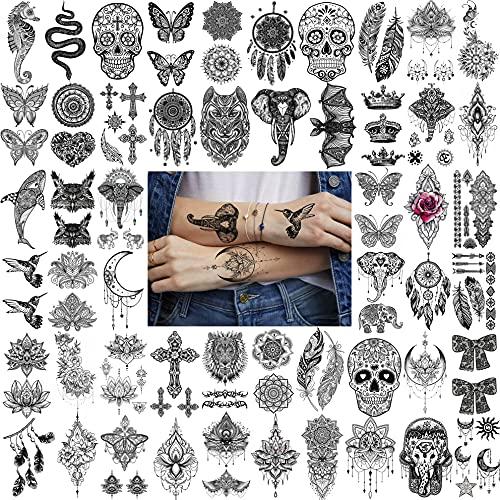 Bilizar 52 Blatt Schwarz Blume Temporäre Tattoos Frauen Hals Mädchen, Schädel Böhmen Schlange Elefant Fake Tattoo Aufkleber Erwachsene Hände, Schmetterlings Feder Tattoos Damen Mandala Lotus Blumen