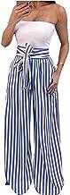 JYK-LQM Women Fashion Casual High Waist Striped Wide Leg Pants Loose Bandage Elastic Waist Trouser