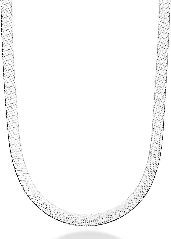 Savlano Miami Mall 925 Sterling Silver Herringbone N Chain Magic Max 67% OFF Flat Snake